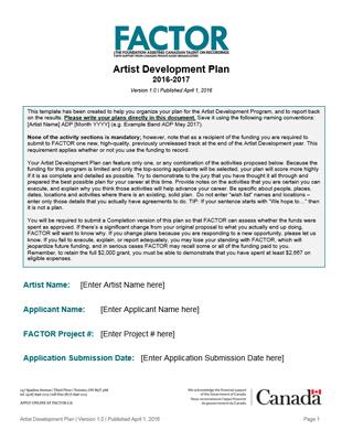 Artist Development Plan